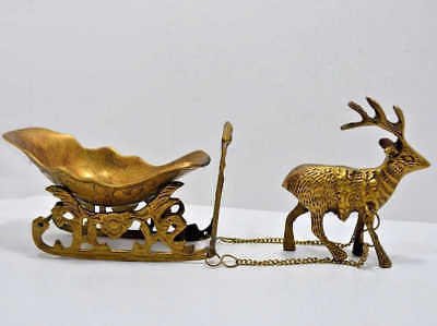 Vintage Heavy Solid Brass Home Decorative Reindeer With Sleigh