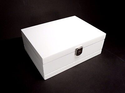 White Wooden Schabby Chic Rectangle Jewellery Box with Interior Mirror