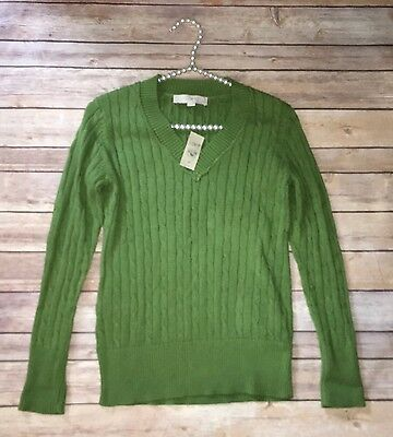 NWT Ann Taylor Loft Size M Petite Olive Green Cable Knit V-Neck Sweater T