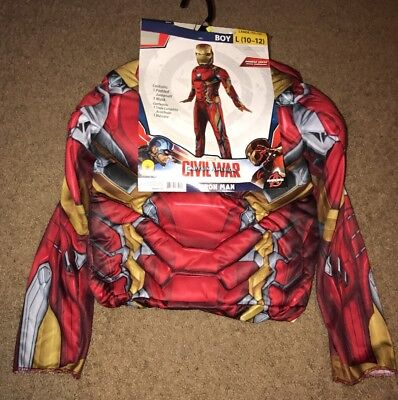New Iron Man Muscle Chest Costume Large 10-12 Padded Marvel Halloween Outfit Boy