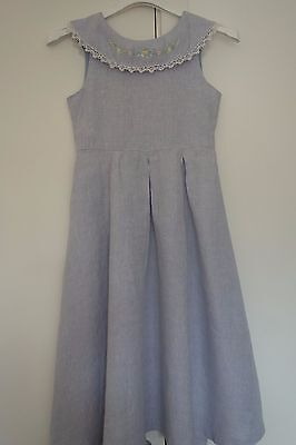 Vintage Judy Lynn Pure Linen Embroidered Dress Chambray Wedding FlowerGirl 12-14