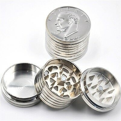 1 X Heavier Silver Dollar Coin Metal Zinc Herb Tobacco Grinder 42MM Small Size