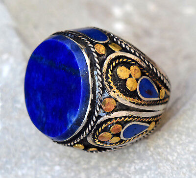 Lapis Lazuli Ring Tribal Carved Ethnic Jewelry Hippie Gypsy Boho Afghan Kuchi
