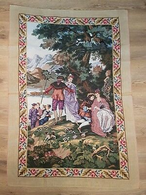 "Time Under The Tree / Wool Tapestry / Size (30"" x 47.5"") / Needlepoint"
