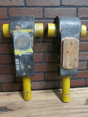 """Pair Vintage Industrial Wooden Foundry Mold 20""""  x 8 1/2"""" Early 1900's Tin Tag"""