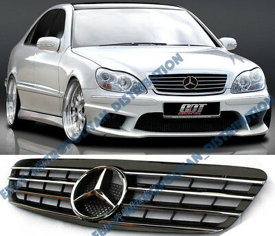 Mercedes-Benz,S class w220,99-02,AMG sport grille+large central star,black/chrom