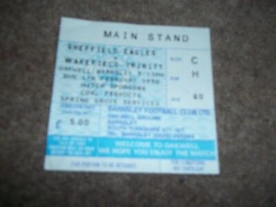 Rugby League Match Ticket Sheffield Eagles V Wakefield Trinity Barnsley Fc 1990