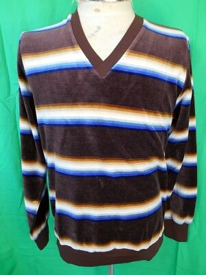 Vintage 1970s Fleecy Brown Blue Cotton Velour John Brown V-neck Sweater 95cm