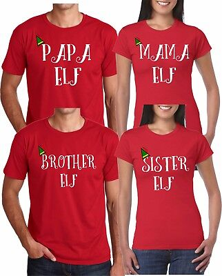 9477f84a4 Mom And Dad And Family ELF Christmas Style funny cute Customized RED TShirts