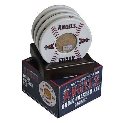 Angels Drink Coaster Set with Game-Used Dirt (MLB) *MLB Authentication Hologram*