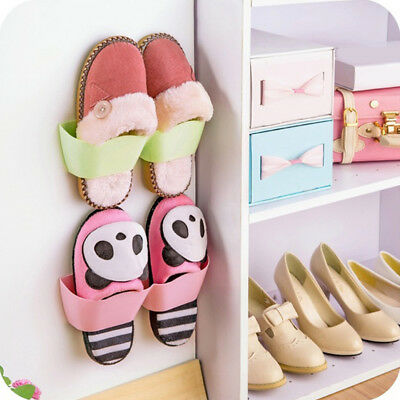 Wall Mounted Type Living Room Bathroom Shoes Storage Holder Double Sides Tape