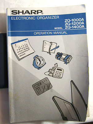 Sharp Electronic Organizer ZQ-1000A  ZQ-1200A ZQ-1400A MANUAL Instructions ONLY