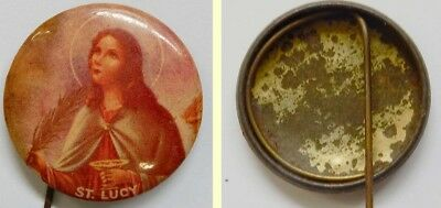 Old Tin Back Religious Badge...'st Lucy'...patron Saint Of The Blind..maybe Rare