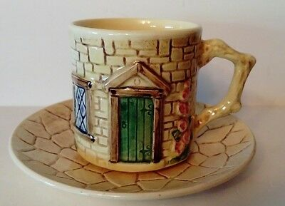 SYLVAC 1940s Cottage Ware Cup and Saucer 4818 - Moulded House Cottage Shape