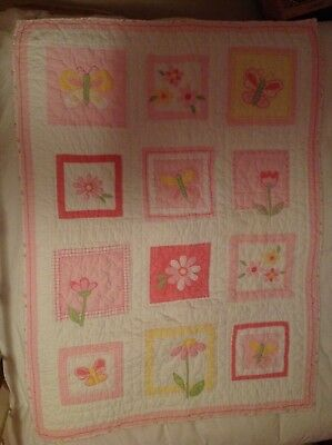 Pottery Barn Kids crib quilt flowers and butterflies nursery baby