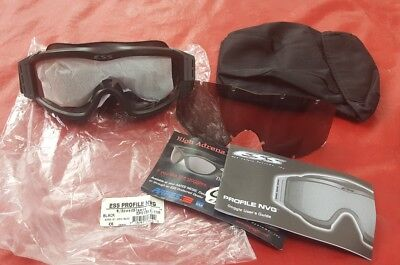 NEW!! ESS Profile Tactical Goggles Kit, BLACK Tinted & Clear Lens