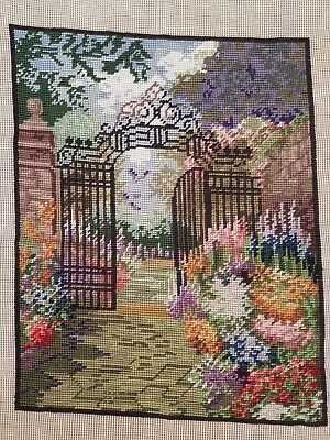 "Gated Gardens / Wool Tapestry / Size (13"" x 16.5"") / Needlepoint / Cross Stitch"