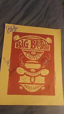 Big Brother And The Holding Company Autographed Monterey Concert Poster Clover