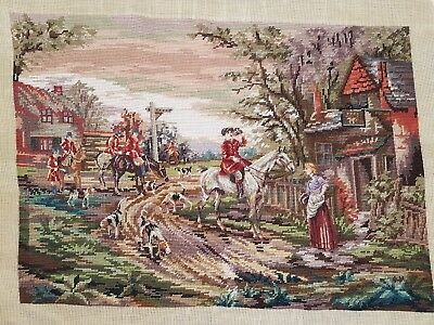 "The Hunt / Wool Tapestry / Size (25"" x 17.5"") / Needlepoint / Cross Stitch"