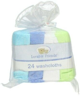 LUVABLE FRIENDS - Gift Set of 24 Baby Boy Terry Washcloths - Blue/Green/White