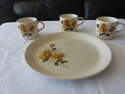 JOHNSON AUSTRALIA AFTERNOON TEA CAKE PLATE + MUG X 3 FLORAL YELLOW ROSE1970s
