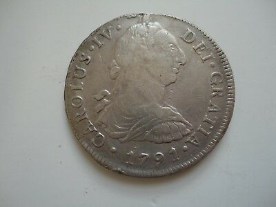 Mexico Spanish 8 Reales 1791 - IJ - Carolus IV - 4 Crown Silver Coin