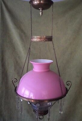 "ANTIQUE VICTORIAN HANGING OIL/KEROSENE LAMP w/ PINK ""CASED"" SHADE & GLASS FONT"