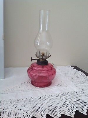 Antique Miniature Ruby Glass Lamp