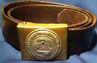 Pre-WW1, Prussian Enlisted Man's Unit Marked Brass Buckle & Belt, 150+ Years Old