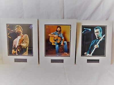 Lot of 3 ERIC CLAPTON Matted 11x14 PICTURES Photos w/ Metal Name Plaques