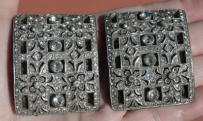 Pair 1920's Art Deco Rhinestone Shoe Buckle Clip Flapper