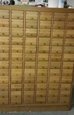 Antique 72 Drawer Library Card Catalog - Solid Wood W/ Brass Pulls And Rods