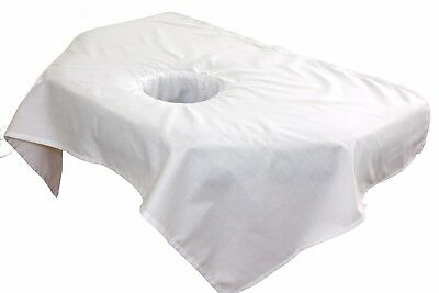 10 Sectional-Sized Flat Massage Table Sheets with Face Rest Cradle Hole, White