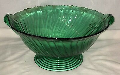 "Jeannette SWIRL *ULTRAMARINE GREEN* 10"" FOOTED* BOWL* CLOSED HANDLE*"