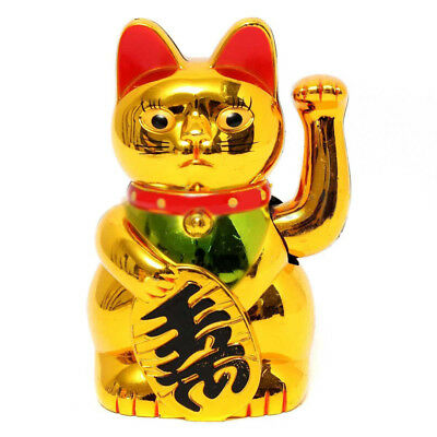 Feng Shui New Chinese Lucky Waving Gold Cat Figure Moving Arm in Colourful Box