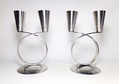 Pair Danish Modern 'mg' Stainless Steel Looped Double Candlestands, 18/8 Denmark