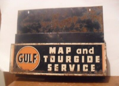 Vintage Gulf Tourguide Service Map Rack Metal