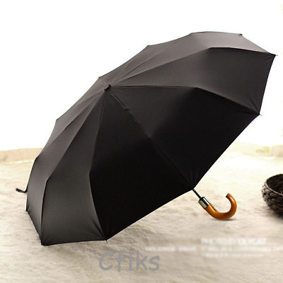 Hot Mens Business Umbrella Compact Folding automatic open Windproof Strong Black