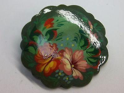 Vintage Laquer Handpainted Flower Brooch/pin