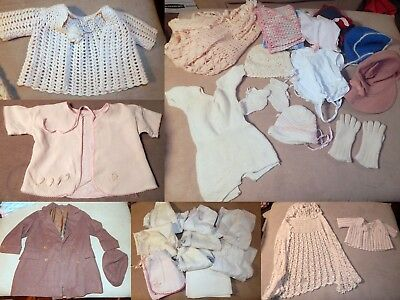 Vintage Antique Lot Baby Toddler Clothes Flannels Knits Bonnets