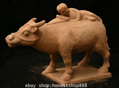 """14""""Collect Chinese Old Tang San Cai Pottery Ceramics Beauty Woman On Bull Statue"""
