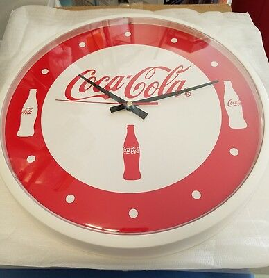 """New Coca Cola 14"""" Wall Clock White With Bottle Script Red & White New In Box"""