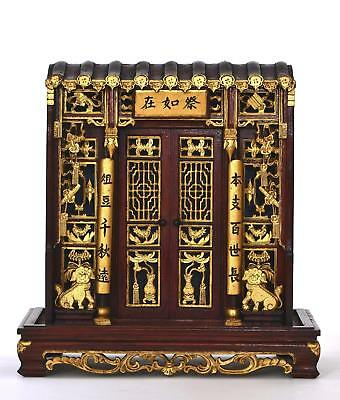 Chinese Hard Wood Carved Carving Gilt Lacquer Buddha Temple Shrine Altar Box