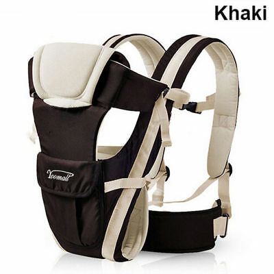 Newborn Infant Adjustable 4Position Baby Carrier Sling Rider Backpack Wrap Khaki
