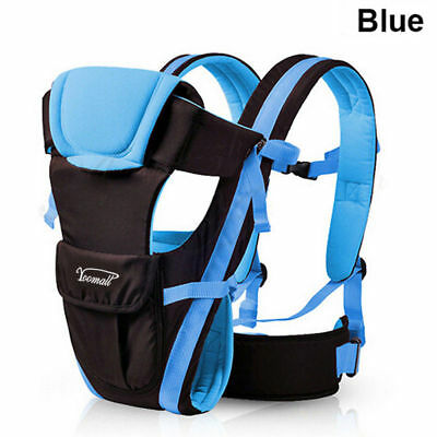 Newborn Baby Carrier Ergonomic Breathable Sling Wrap Backpack 4 Position Blue UK