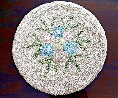 Vintage Hand Hooked Chair Seat Cover OOAK