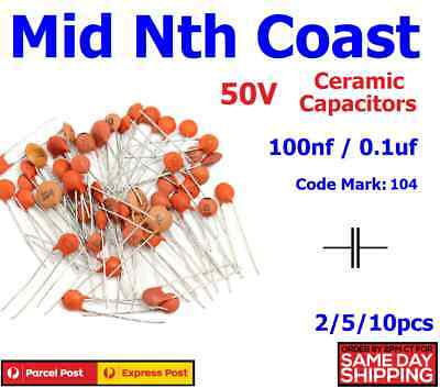 2/5/10pc 100000pf - 100nf (Code#:104) 50V Low Voltage Ceramic Disc Capacitors