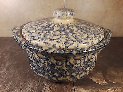 "Roseville Ohio Spongeware Pottery Large Tureen 10"" Blue - Robinson Ransbottom"