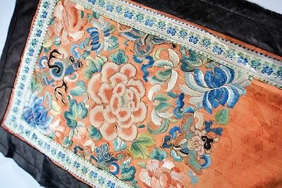 Beautiful Antique Fine Chinese Silk Canton Hand Embroidery Brocade Textile