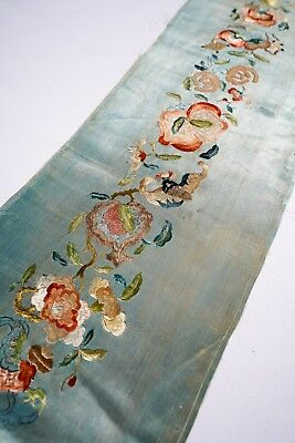 Unusual Antique Fine Chinese Silk Canton Hand Embroidery Brocade Textile